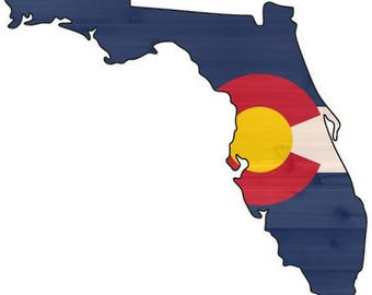 Florida-Colorado  Cedar Flag Sign - Any Flag On Any State Or Country Outline