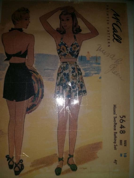 Reproduction of original Mc calls bathing suit pattern 5648 SZ 18 Bust 36