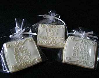 Communion Favors | Gold Cookie favors | Large Square  | Custom decorated cookies | God Bless Baby | Gold Icing