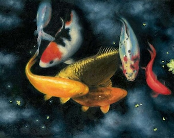 Midnight Koi Fine Art Greeting Card From An Original Oil Painting. Blank,Any Occasion.Birthday.Koi Carp,Fish,Water.Nature, Wildlife,Realism.