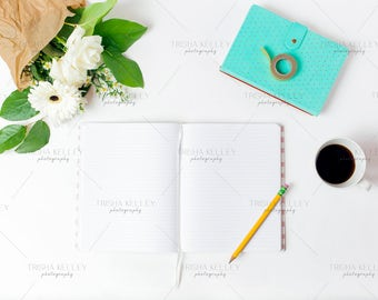 Open Notebook with Blue Notebook