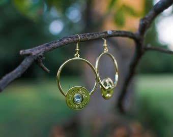Circle Dangle Earrings with Crystals
