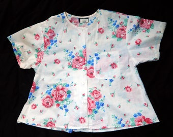 Blouse Women's / Floral Shirt / Fritzi / Made in USA / Size 8