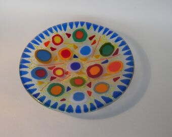 Fused glass shallow bowl