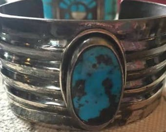 Vintage 1960s Native American Made 925 Sterling Silver Turquoise Cuff Bracelet