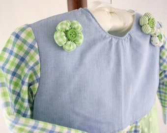 Children dress in light blue and light green, size 98