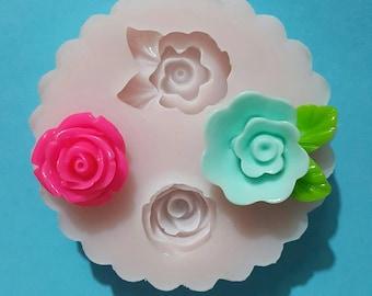 Flexible silicone mold roses shiny (random color)