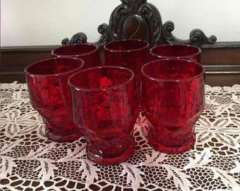 Set Of 6 Viking Glass Ruby Red Georgian Tumblers