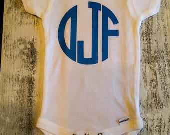 Monogrammed onesie/bodysuit, customized initials, blue letters, with matching bib (optional and an additional charge).