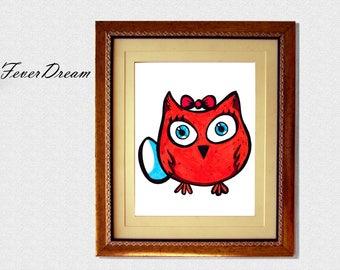 Owly Print Wall Art - 11x8.5inch - Unique Modern Artwork
