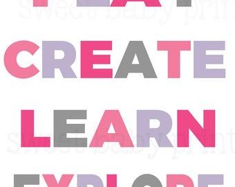 Play Create Learn Explore, Playroom Print