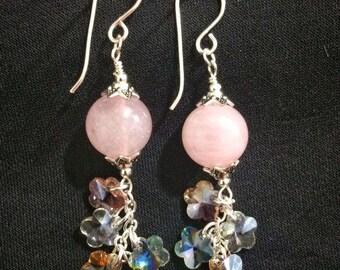 Rose Quartz and Swarovski Earrings