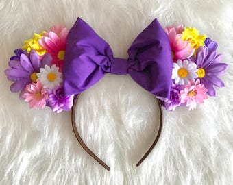 Rapunzel Floral Mickey Ears - Disney Princess Mickey Ears - Rapunzel Mickey Ears - Rapunzel Minnie Ears  Disney Ears