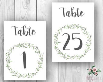 Leafy Green Watercolor Table Numbers Printable