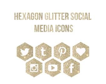 Glitter Hexagon Social Media Icons