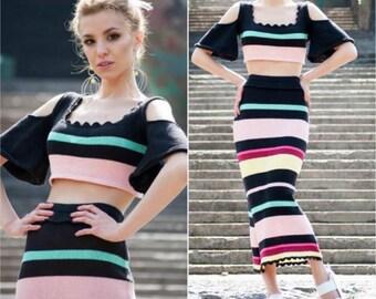 Boho summer dress women sexy off shoulder top festival dress skirt top set summer knitwear cotton black pink stripe long summer boho skirt