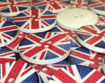 6 Union Jack Flag Wooden Buttons, GB, British, UK, United Kingdom