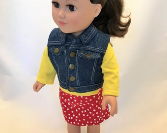 18 inch doll clothes, denim vest, skirt and top