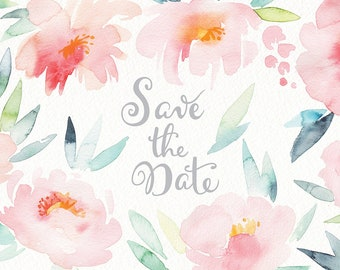 Watercolor wedding flowers (bride, spring, pink, clipart, love, save the date, valentine day, botanical, floral, background, rose, peony)