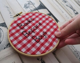 Books Before Boys Embroidery