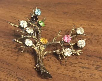 Tree Brooch, Costume jewelry, gifts for her, vintage jewelry