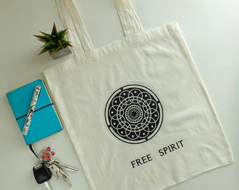 Free Spirit bag*Quote bag*Vegan bag*Tote bag*Shopping bag*Organic bag*Grocery bag *Cotton raw bag