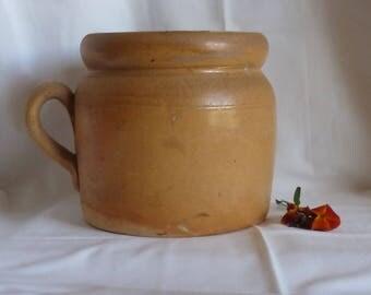 Jug vintage enamelled sandstone color but / jug old sandstone / old sandstone and handle pottery / pottery campaign / Home decoration / Vintagefr.