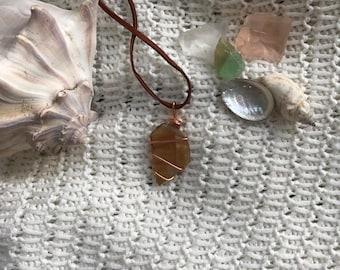 Rusty Orange Sea Glass Wrap Necklace