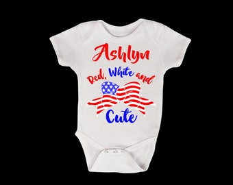 Red White and Cute Personalized Onesie