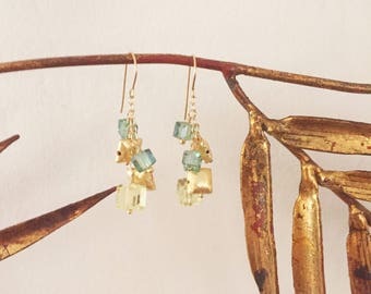 Square Swarovski Crystal and Brushed Gold Earrings