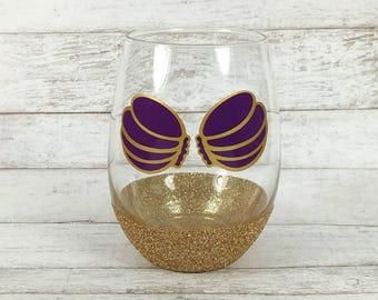 Mermaid Wine Glass - Stemless Wine Glass - Sea Shell Wine Glass - Summer Wine Glass - Gift For Her - Bridesmaid Gift - The Little Mermaid