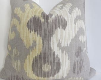 Braemore Journey Linen  Decorative Pillows- Grey Yellow Cream Pillow Covers- Pillow Covers- Grey Pillows- Yellow Pillows- Cream Pillows