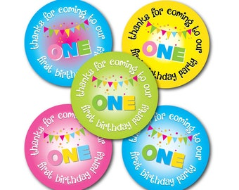 Thanks For Coming To OUR First Birthday Party - 30mm stickers, 'Bunting' various colours and quantities