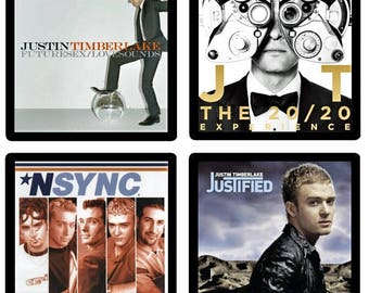 Justin Timberlake NSYNC (4) Coaster Set - Four Different Album Covers recreated on soft absorbent rubber/fabric coasters Gift Idea Crew