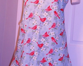 Full Apron - Floral with birds