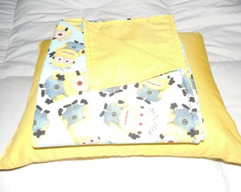 Yellow Minion Baby Blanket with Matching Pillow