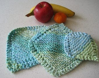Green and Blue Knit Dishcloths, Set of 3