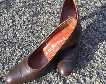 Brown leather vintage heals Mr. James