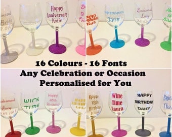 Personalised Glitter Wine Glass 16 Colours 16 Fonts Birthdays Hen Partys Wedding 18th 21st 30th 40th Celebration Customized Names Occasion
