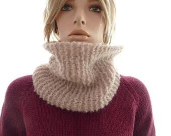 Wool cowl, single loop neck warmer,  alpaca, silk neck warmer, light beige, hand knit, ready to ship