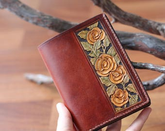 Flower carving leather wallet