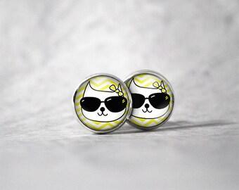 Cabochon 12 mm earrings / cat