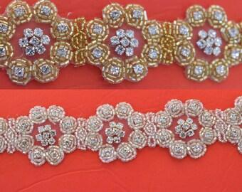 1 yard Rhinestone trim/ Rhinestone Chain/ Formal gown belt/ rhinestone  Swarovski shine silver or gold  #WH161