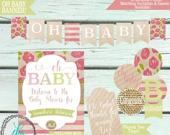 Shabby Chic Baby Shower Invitation | Baby Shower Invitation Girl |Baby Shower Printable | Baby Shower Banner | Baby Shower Cupcake Topper