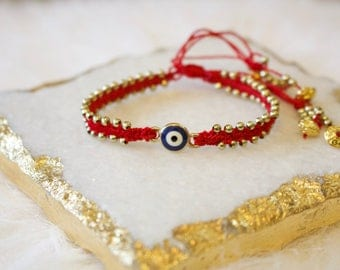 Lux Red String Evil Eye Bracelet