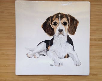 Beagle Ceramic Tile - 8 inch