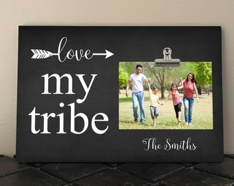 LOVE my TRIBE, Personalized Photo Clip Frame, Handmade in the USA, Family photo frame, Perfect for Mothers Day, Fathers Day, Anniversary