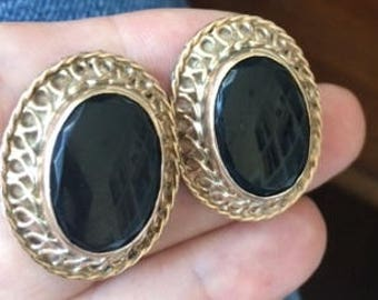 Vintage Onyx earrings set in 9ct Gold