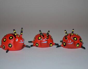Set of 3 alebrije style ladybugs