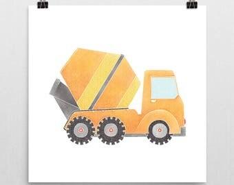 Construction Truck Nursery Print – Orange Cement Mixer